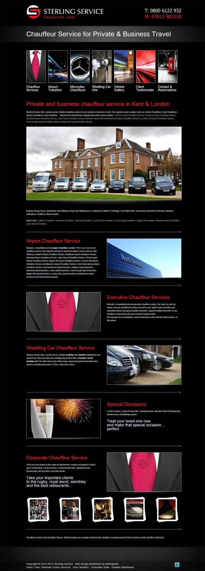 Chauffeur website design from Webexpand : STERLING SERVICE