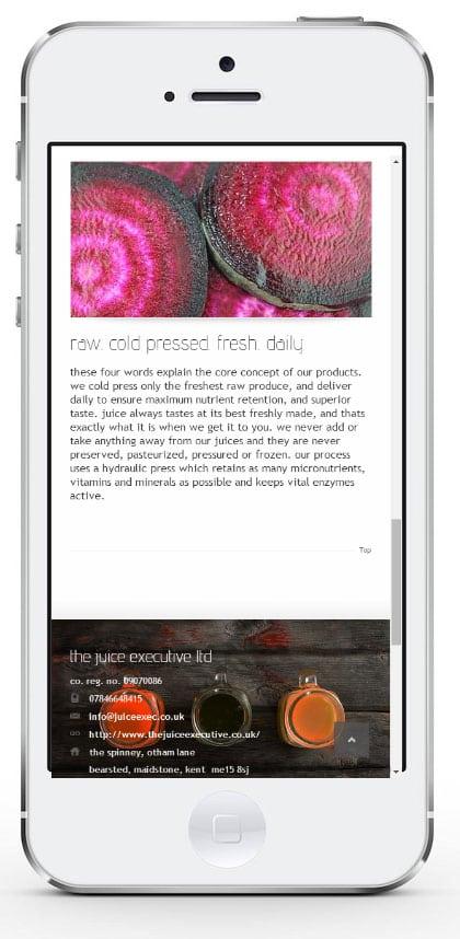 iPhone responsive website design example