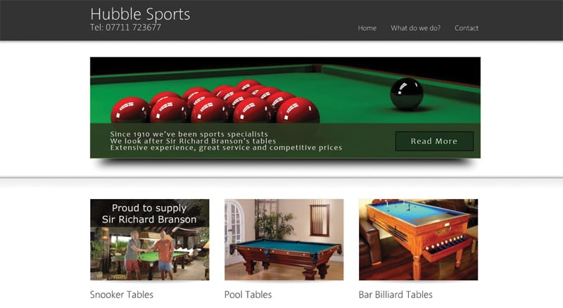 Snooker Table website design in Maidstone Kent from Webexpand